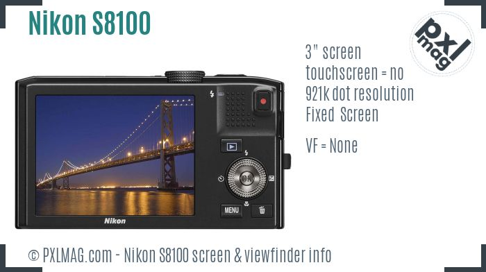 Nikon Coolpix S8100 screen and viewfinder
