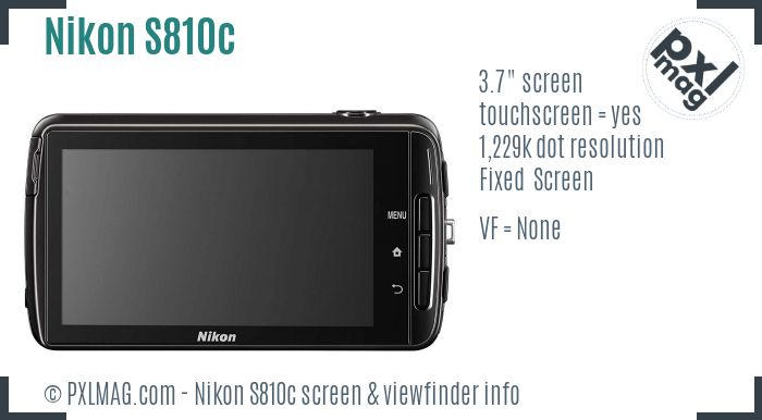 Nikon Coolpix S810c screen and viewfinder