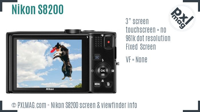 Nikon Coolpix S8200 screen and viewfinder