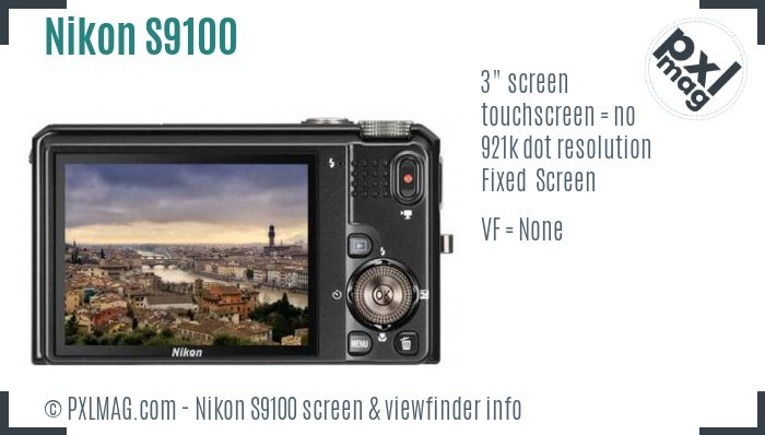 Nikon Coolpix S9100 screen and viewfinder