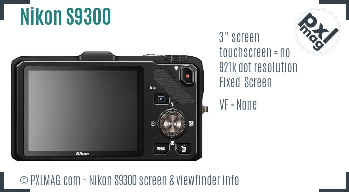 Nikon Coolpix S9300 screen and viewfinder