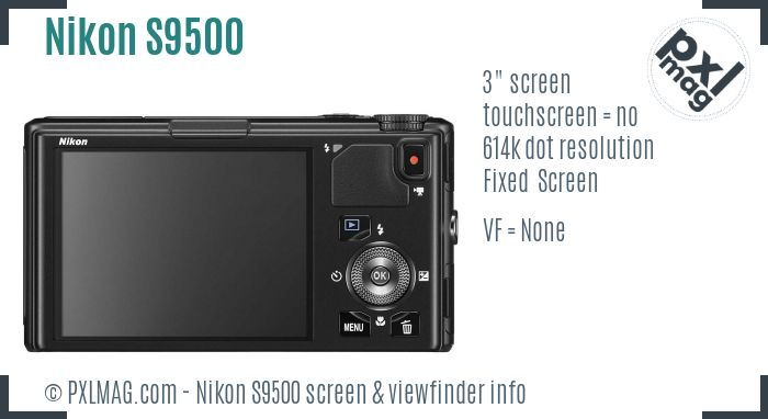 Nikon Coolpix S9500 screen and viewfinder