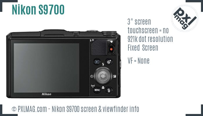 Nikon Coolpix S9700 screen and viewfinder