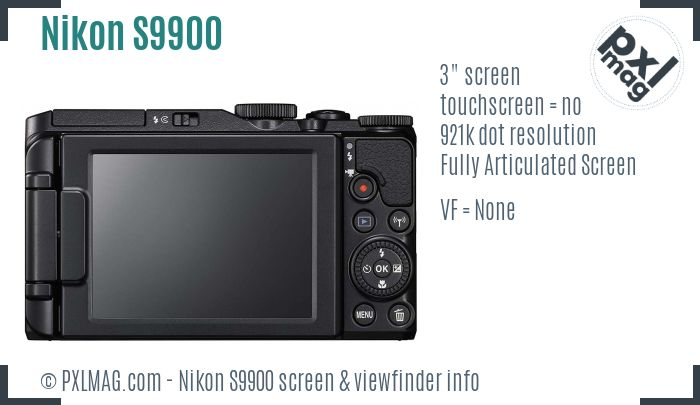Nikon Coolpix S9900 screen and viewfinder
