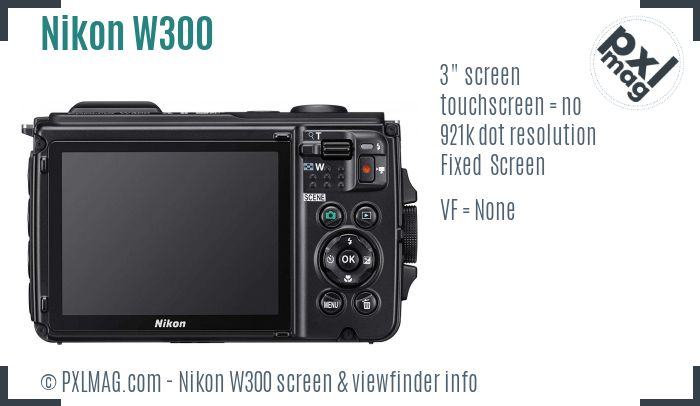 Nikon Coolpix W300 screen and viewfinder