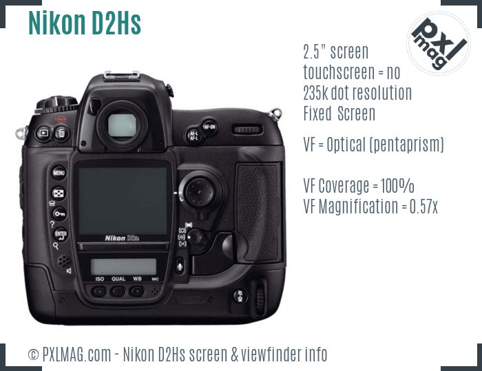 Nikon D2Hs screen and viewfinder