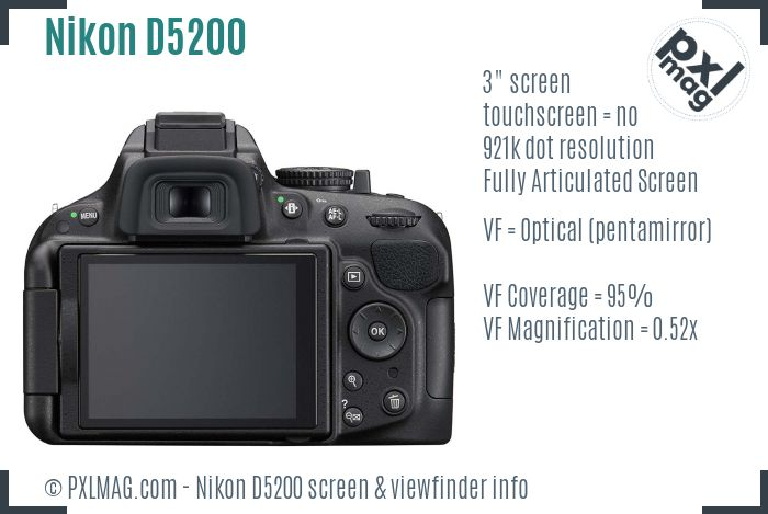 Nikon D5200 screen and viewfinder