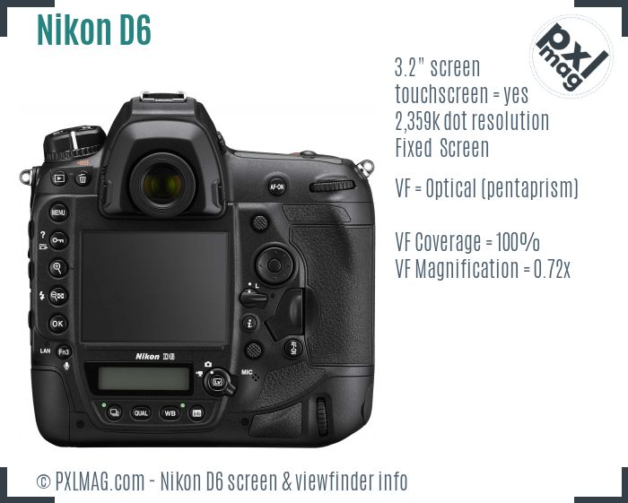 Nikon D6 screen and viewfinder