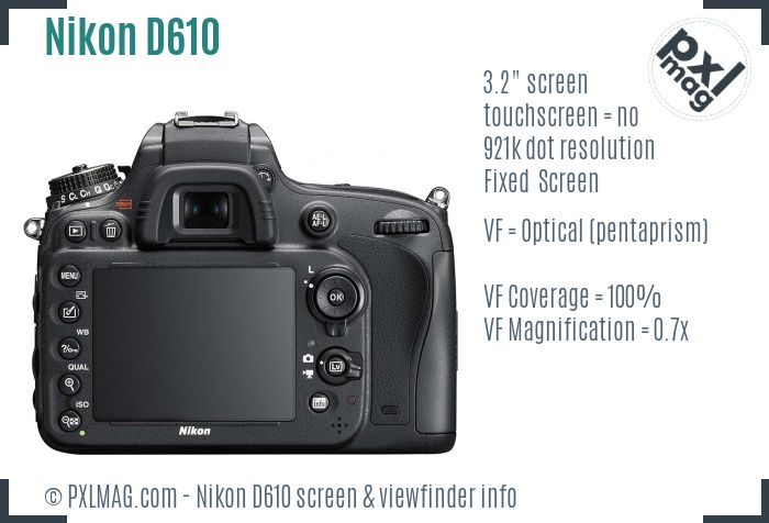 Nikon D610 screen and viewfinder
