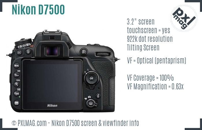 Nikon D7500 screen and viewfinder