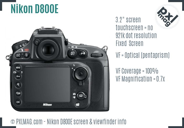 Nikon D800E screen and viewfinder
