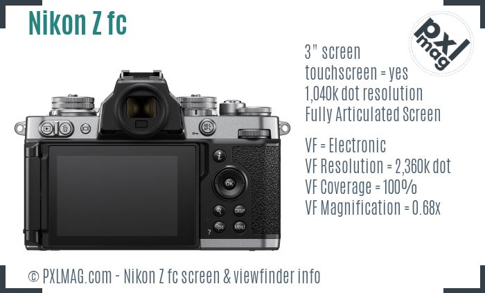 Nikon Z fc screen and viewfinder