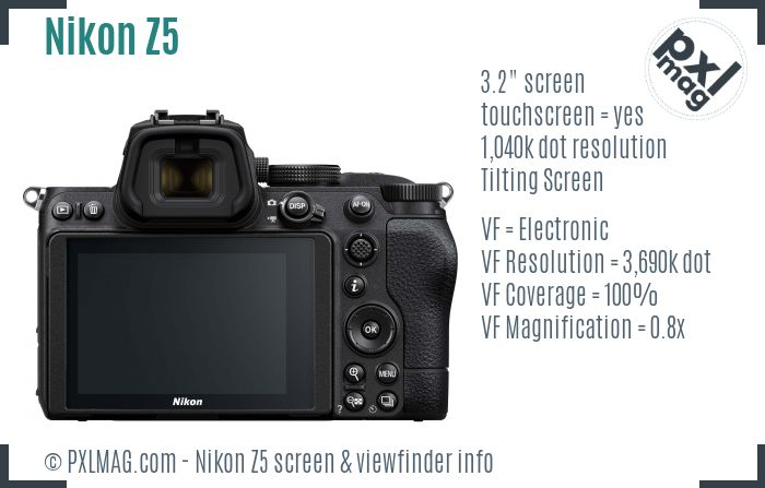 Nikon Z5 screen and viewfinder