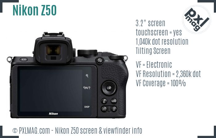 Nikon Z50 screen and viewfinder