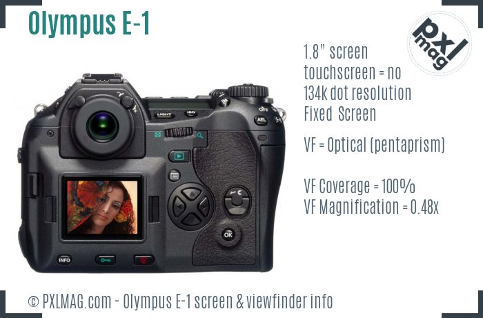Olympus E-1 screen and viewfinder