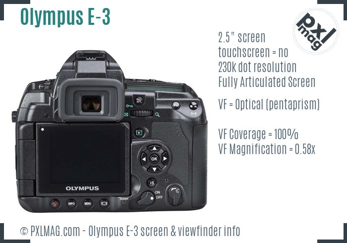 Olympus E-3 screen and viewfinder