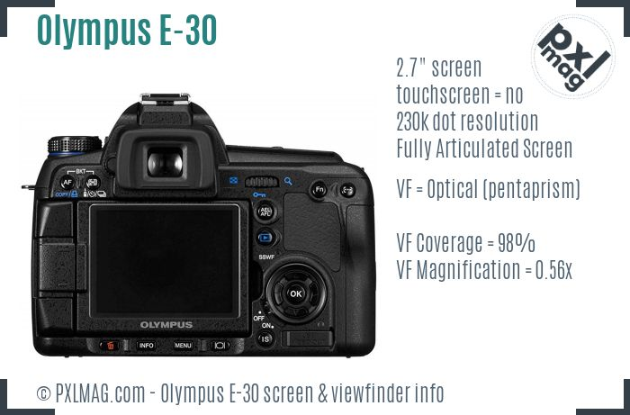 Olympus E-30 screen and viewfinder