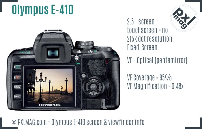Olympus E-410 screen and viewfinder