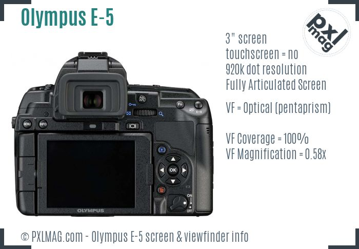 Olympus E-5 screen and viewfinder