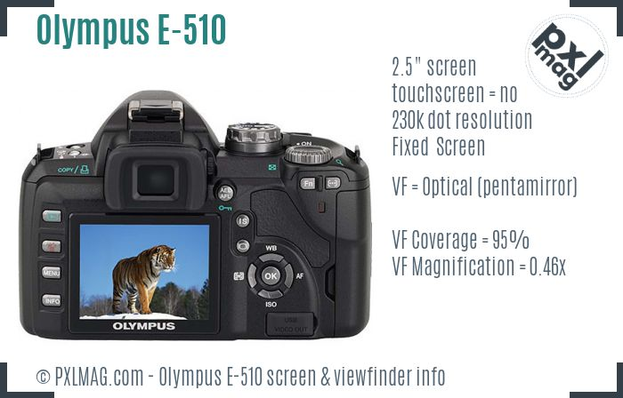 Olympus E-510 screen and viewfinder