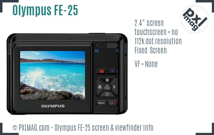Olympus FE-25 screen and viewfinder