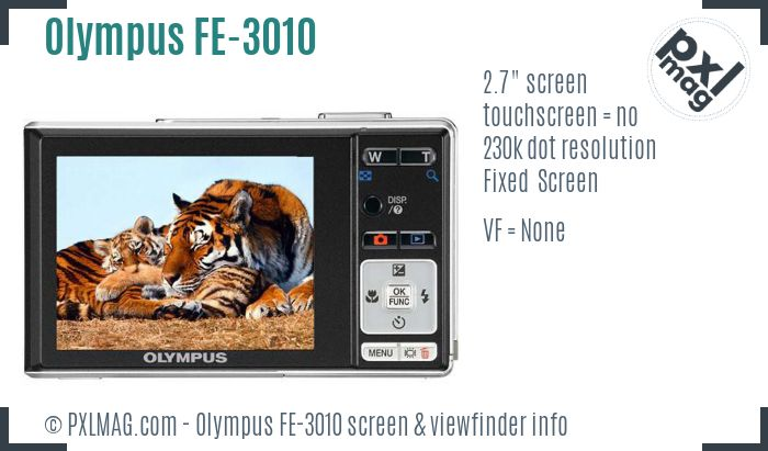 Olympus FE-3010 screen and viewfinder