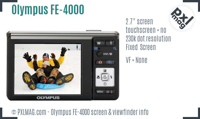 Olympus FE-4000 screen and viewfinder