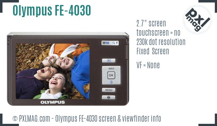 Olympus FE-4030 screen and viewfinder