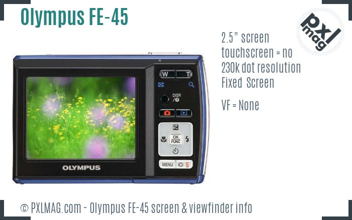 Olympus FE-45 screen and viewfinder