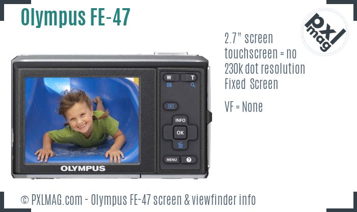 Olympus FE-47 screen and viewfinder