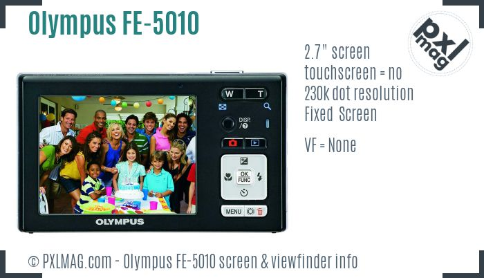 Olympus FE-5010 screen and viewfinder