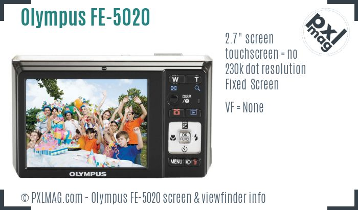 Olympus FE-5020 screen and viewfinder