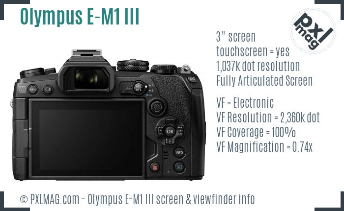 Olympus OM-D E-M1 Mark III screen and viewfinder