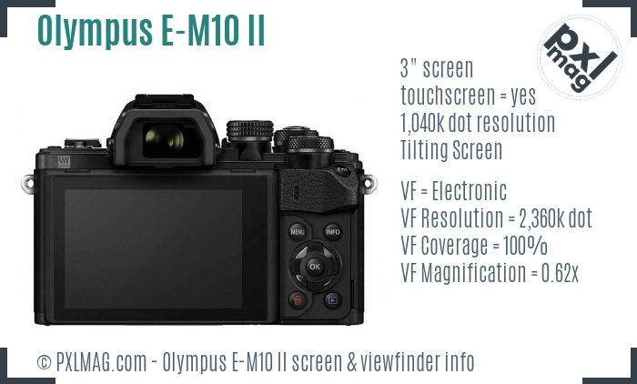 Olympus OM-D E-M10 II screen and viewfinder