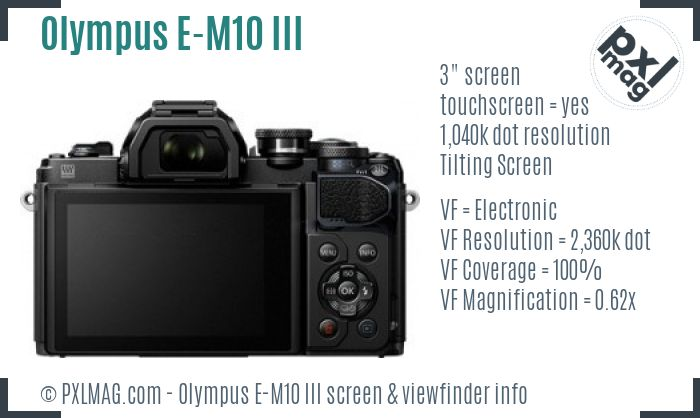 Olympus OM-D E-M10 Mark III screen and viewfinder