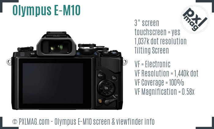 Olympus OM-D E-M10 screen and viewfinder