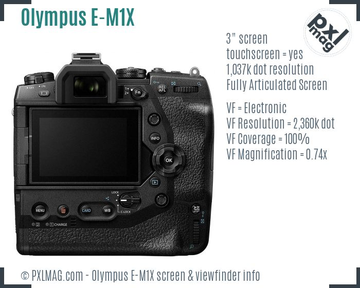 Olympus OM-D E-M1X screen and viewfinder