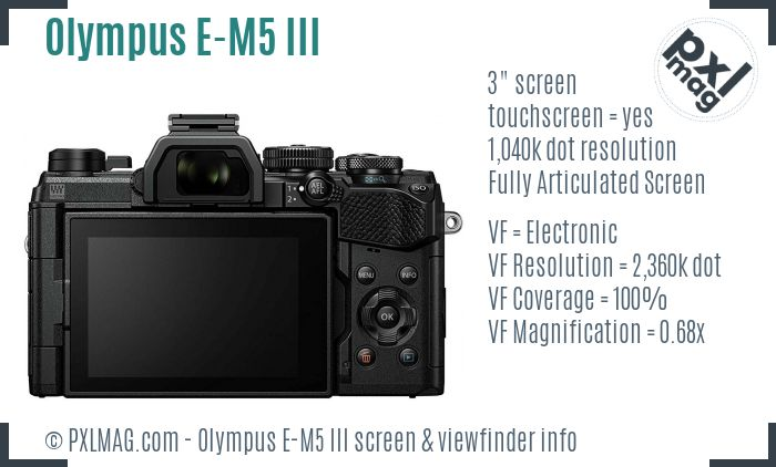 Olympus OM-D E-M5 III screen and viewfinder