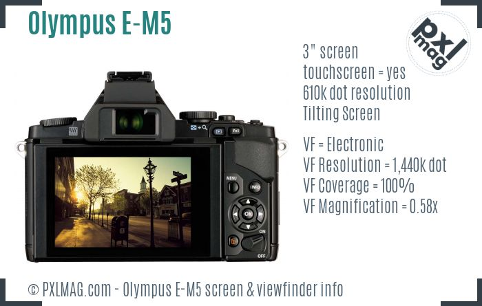 Olympus OM-D E-M5 screen and viewfinder