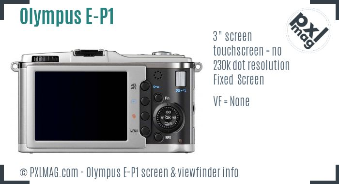 Olympus PEN E-P1 screen and viewfinder