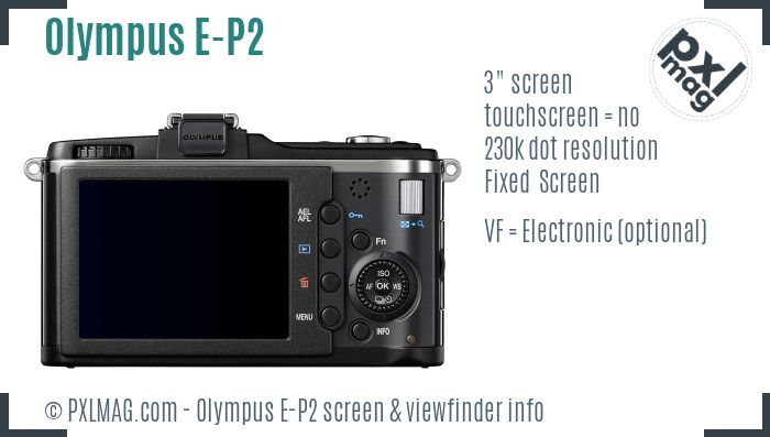 Olympus PEN E-P2 screen and viewfinder