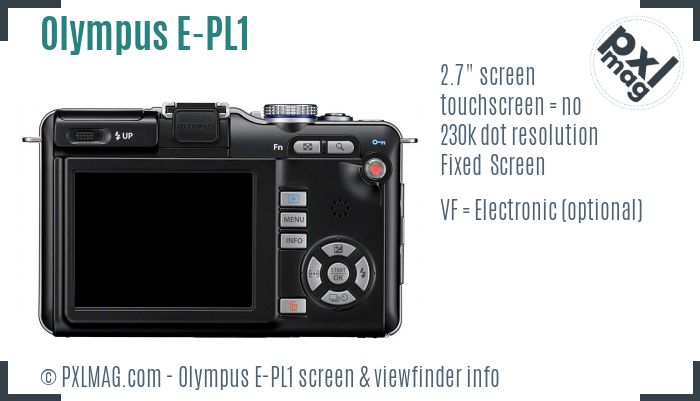 Olympus PEN E-PL1 screen and viewfinder
