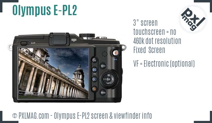 Olympus PEN E-PL2 screen and viewfinder