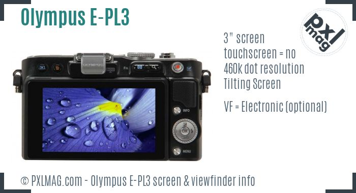 Olympus PEN E-PL3 screen and viewfinder
