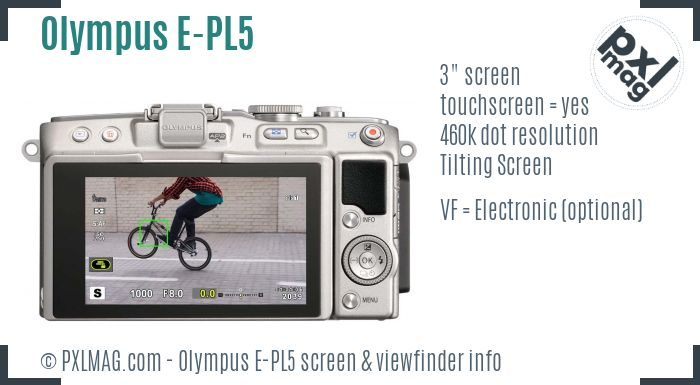 Olympus PEN E-PL5 screen and viewfinder