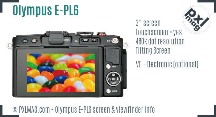 Olympus PEN E-PL6 screen and viewfinder