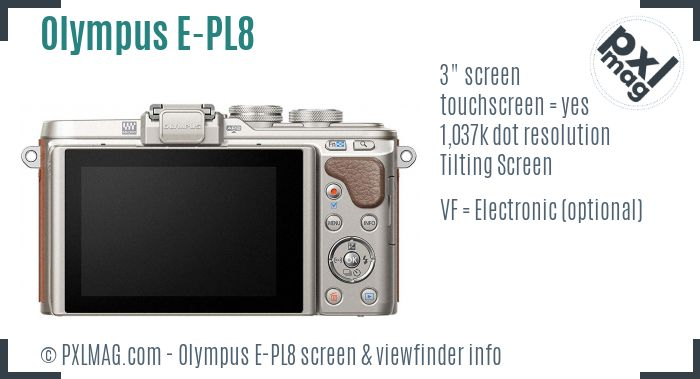 Olympus PEN E-PL8 screen and viewfinder