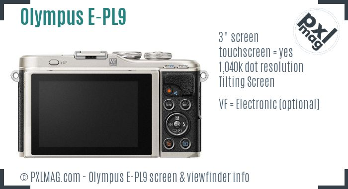 Olympus PEN E-PL9 screen and viewfinder