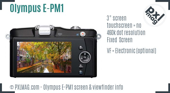 Olympus PEN E-PM1 screen and viewfinder