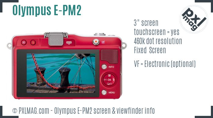 Olympus PEN E-PM2 screen and viewfinder